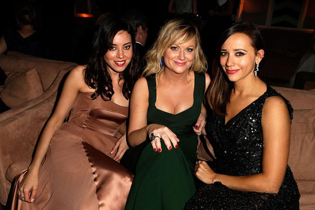 Aubrey Plaza, Amy Poehler, and Rashida Jones attend the 2013 Vanity Fair Oscar Party hosted by Graydon Carter at Sunset Tower on February 24, 2013 in West Hollywood, California.