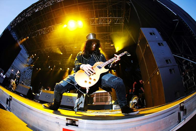 Guitarist and former lead guitarist of US band Guns N' Roses, known as 'Slash', performs during the Quart music festival in Kristiansand, Norway, in 2009 (AFP Photo/Tor Erik Schroder)