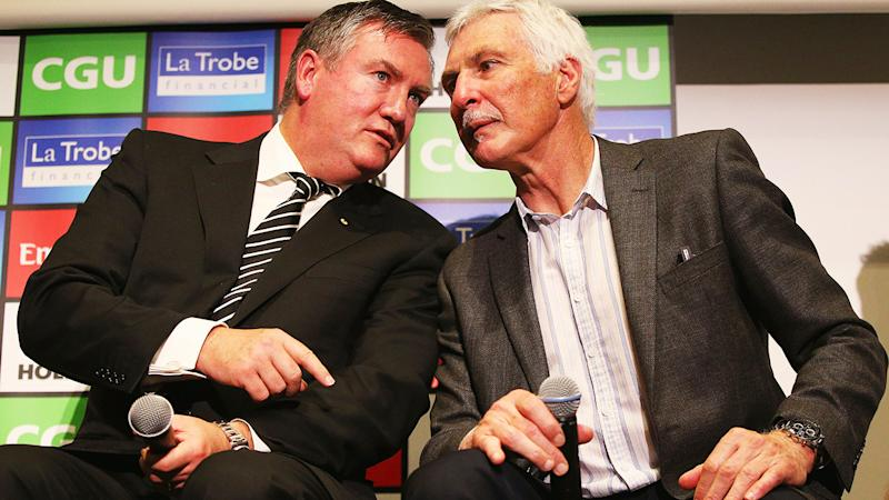 Eddie Maguire and Mick Malthouse, pictured here at Collingwood in 2016.