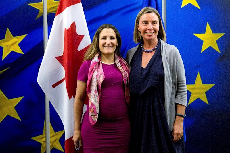 The event will be hosted by Canada's Foreign Minister Chrystia Freeland (l), along with the European Union's foreign policy chief Federica Mogherini (r), according to statement by the EU