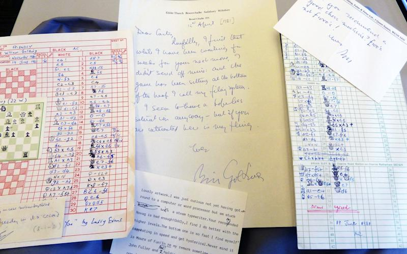 The letters and chess move instructions sent between Anthony Curtis and Sir William Golding
