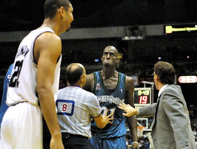 Give us this between Kevin Garnett and Tim Duncan in the 2004 Western Conference finals. (Paul Buck/AFP via Getty Images)