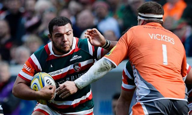"""<span class=""""element-image__caption"""">Leicester's Ellis Genge attempts to force a way past Newcastle's Rob Vickers at Welford Road. </span> <span class=""""element-image__credit"""">Photograph: Alan Walter/Reuters</span>"""