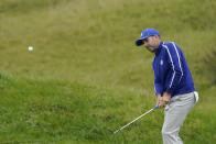 Team Europe's Sergio Garcia hits to the 11th green during a practice day at the Ryder Cup at the Whistling Straits Golf Course Tuesday, Sept. 21, 2021, in Sheboygan, Wis. (AP Photo/Jeff Roberson)