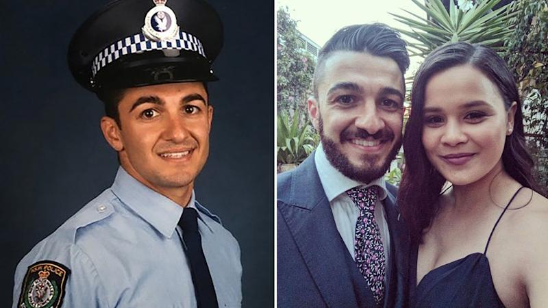 NSW Police Constable Aaron Vidal, 28, is pictured in his uniform and with his pregnant fiancée.