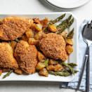 <p>This one-pan dinner combines savory Parmesan cheese and panko-coated chicken breast with asparagus and potatoes tossed with spices to create an easy meal the whole family will love.</p>