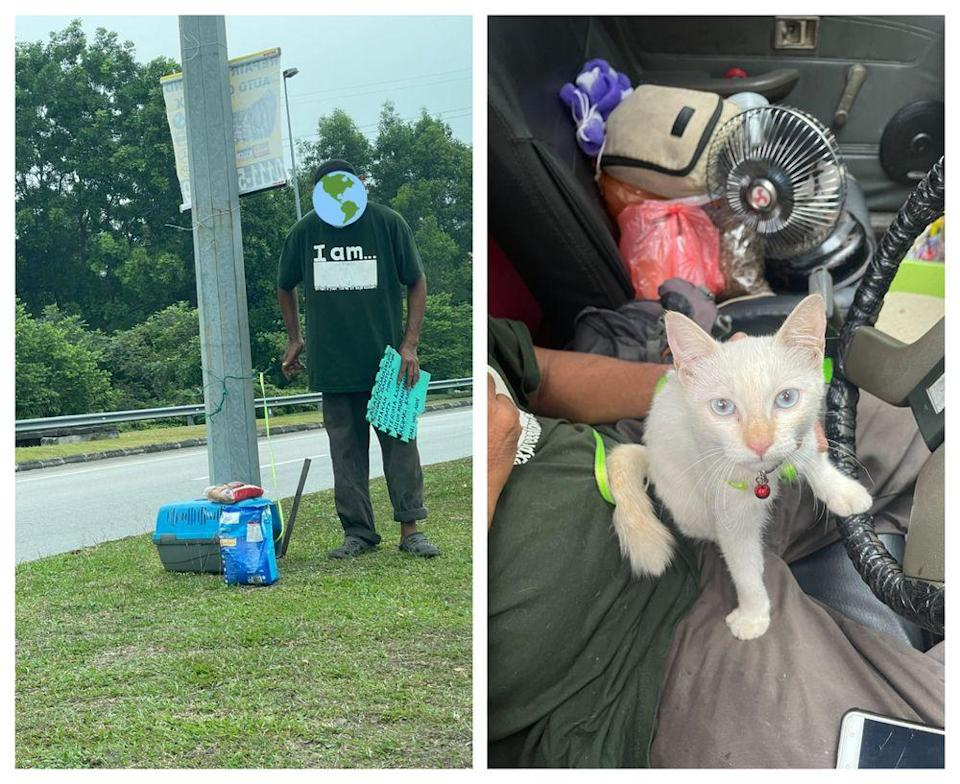 Shahrul has had Puteri (white cat) as his loyal companion since the past month. Picture via Twitter/@mohamadfarisss