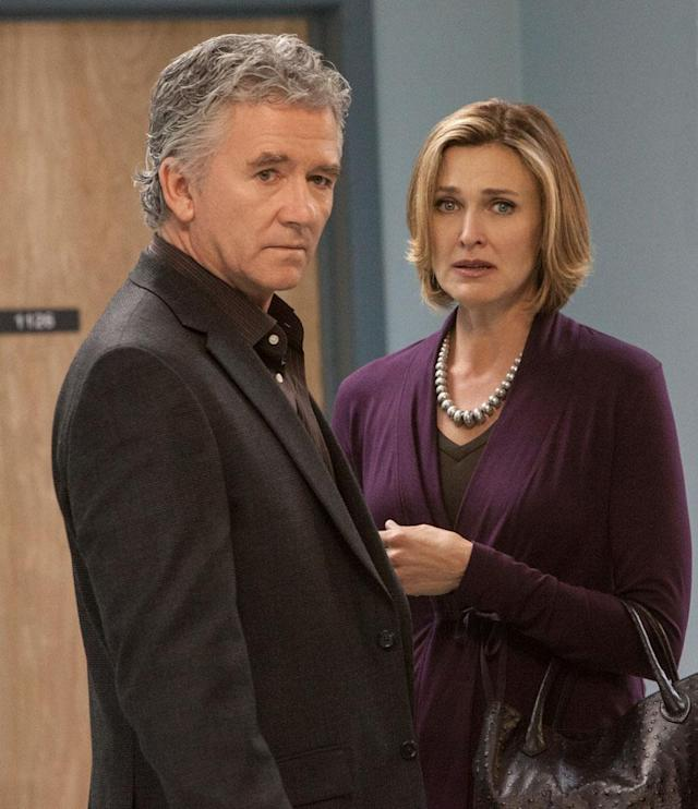"Patrick Duffy and Brenda Strong in the ""Dallas"" Season 2 episode, ""Sins of the Father."""
