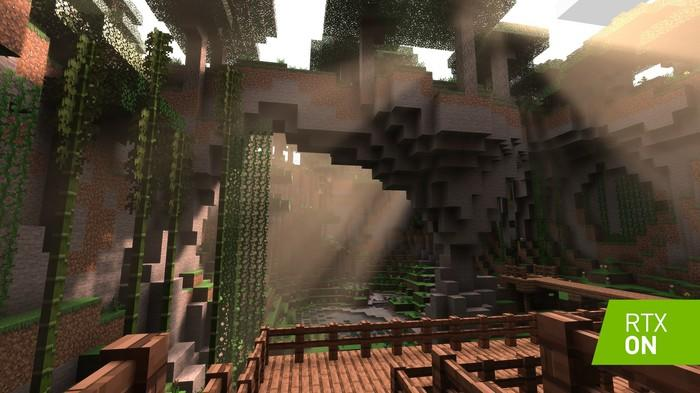 Minecraft with NVIDIA's ray tracing enabled.