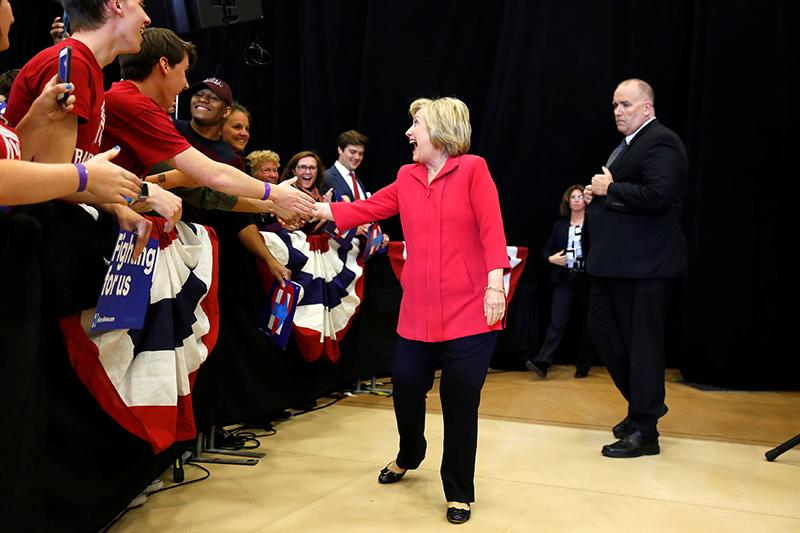 Hillary Clinton greets supporters at Transylvania University in Lexington, Kentucky, on May 16, 2016. (Photo: Aaron P. Bernstein/Reuters)