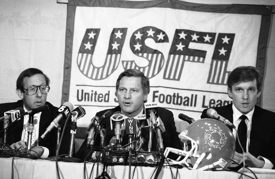 Former president Donald Trump (R) was one of the owners who wanted the USFL to merge with the NFL. The move failed spectacularly and caused the USFL to fold. (AP Photo/Marty Lederhandler)