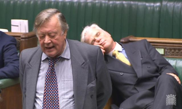A file image of Sir Desmond Swayne asleep in the Commons in 2018 (PA)