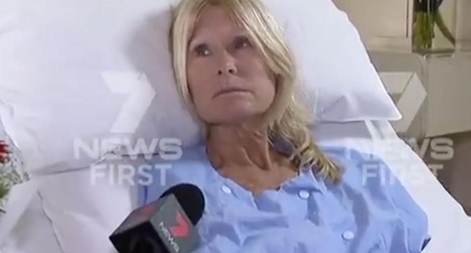 Deb Rundle, 54, suffered horrific wounds to her leg after she was mauled by three dingoes in WA's Pilbara. Source: 7 News