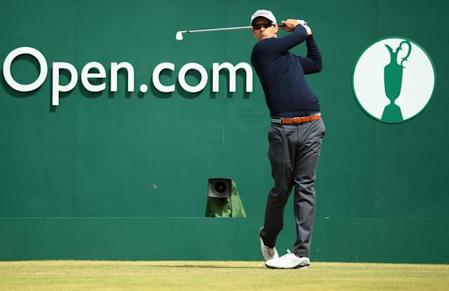 GULLANE, SCOTLAND - JULY 21: Adam Scott of Australia tees off on the 1st hole during the final round of the 142nd Open Championship at Muirfield on July 21, 2013 in Gullane, Scotland. (Photo by Matthew Lewis/Getty Images)