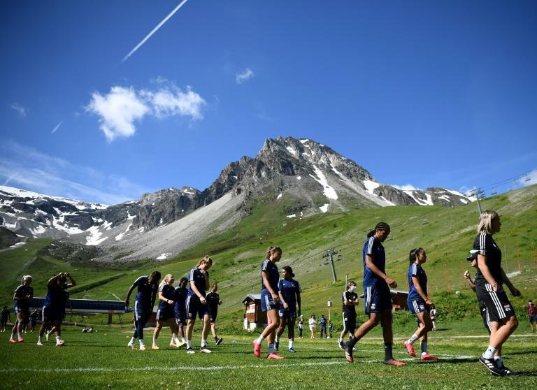 Lyon in training at a French ski resort last month. Their league season was cut short by the coronavirus outbreak
