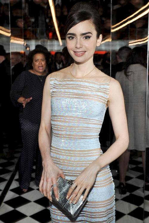 lily collins channels her inner audrey hepburn at a golden