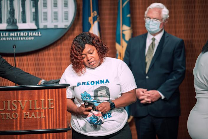 "At Tuesday's press conference in Louisville, Ky., Breonna Taylor's mother, Tamika Palmer, said, ""As significant as today is, it's only the beginning of getting full justice for Breonna."" (Jon Cherry/Getty Images)"