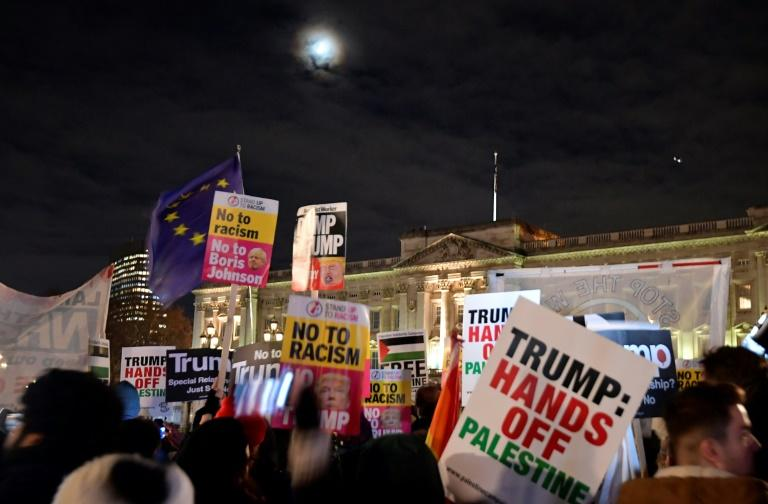 Protesters held a rally against US President Donald Trump and the NATO alliance in central London