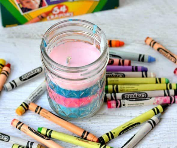 "<p>This project is a two-in-one: It makes a cute candle for Mom, and it also uses up those crayon nubs that are too small to color with. Be sure to include Mom's favorite colors!</p><p><em><a href=""https://www.thepinningmama.com/diy-crayon-candles"" rel=""nofollow noopener"" target=""_blank"" data-ylk=""slk:Get the tutorial at The Pinning Mama »"" class=""link rapid-noclick-resp"">Get the tutorial at The Pinning Mama »</a></em></p>"