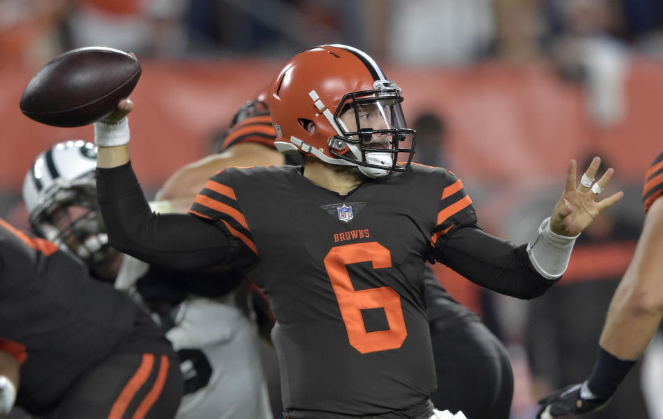 Cleveland Browns quarterback Baker Mayfield gave his team a big boost off the bench against the Jets. (AP)