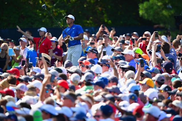Tiger Woods was the center of attention during Round 3 of the PGA Championship. (Getty)