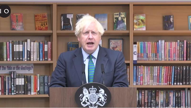 Boris Johnson addressing Year 7 students during his visit to Castle Rock School in Leicestershire on Wednesday. (Photo: Downing Street )