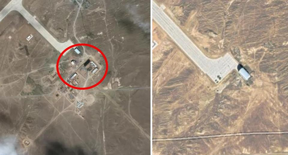 New buildings are seen emerging near the airstrip (left) in this comparison photo. Source: Maxar/Google Maps