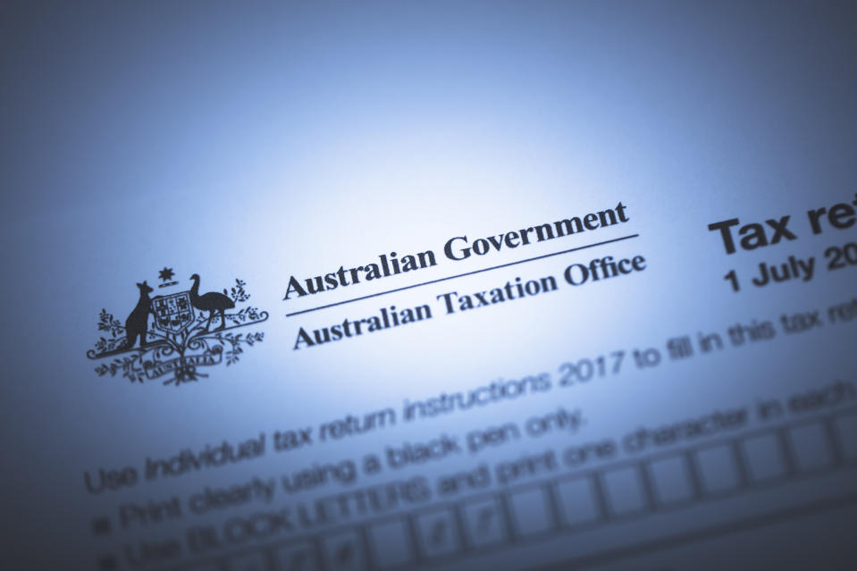 An editorial stock photo of the Australian Government Taxation forms.