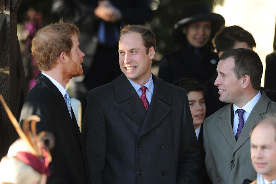 Prince Harry (left), Duke of Cambridge and Peter Phillips after the traditional Christmas Day church service at St Mary Magdalene Church on the royal estate in Sandringham, Norfolk.   (Photo by Joe Giddens/PA Images via Getty Images)