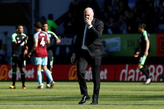 "Soccer Football - Premier League - Burnley vs AFC Bournemouth - Turf Moor, Burnley, Britain - May 13, 2018 Burnley manager Sean Dyche looks dejected after the match Action Images via Reuters/Craig Brough EDITORIAL USE ONLY. No use with unauthorized audio, video, data, fixture lists, club/league logos or ""live"" services. Online in-match use limited to 75 images, no video emulation. No use in betting, games or single club/league/player publications. Please contact your account representative for further details."