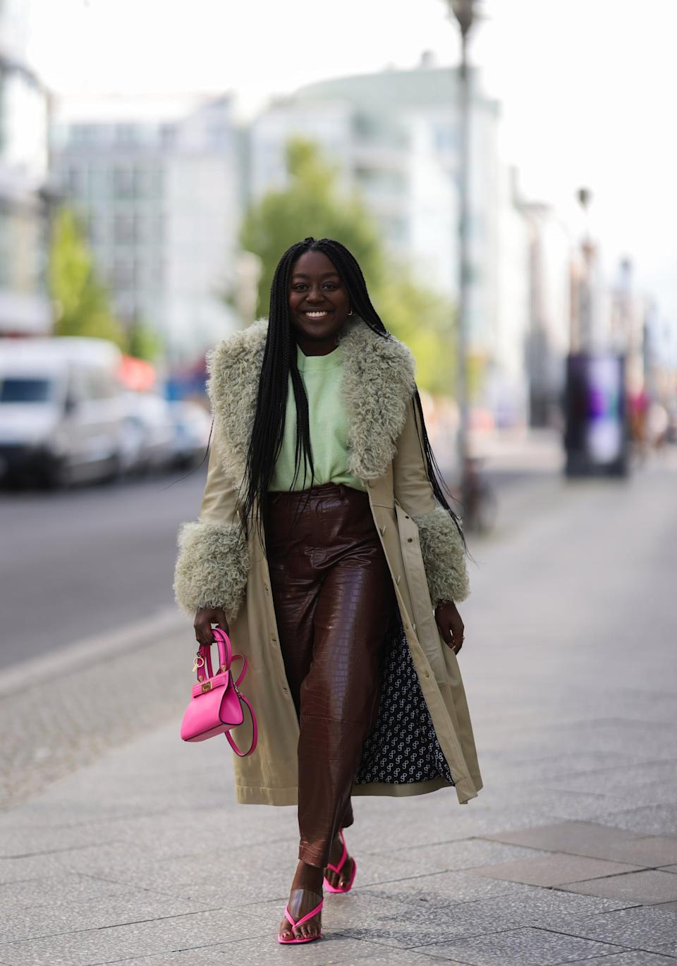 <p>With furry accents at the collar and sleeves, coats get a glam update this season. The look is slightly disco, though rest assured, it can be easily pared down with jeans, tees, and sneakers. In short, you'll get your money's worth when you dress it up or down, no matter the occasion.</p>