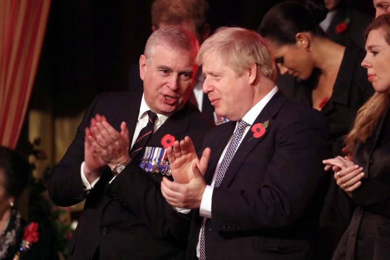Britain's Prince Andrew and Prime Minister, Boris Johnson, attend the Festival of Remembrance in London