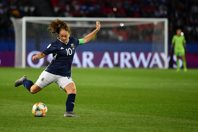 Estefania Banini (ARG) during the Group D game between Scotland and Argentina at the FIFA Women's World Cup in France at Parc des Princes Stadium on the 19 June 2019. (Photo by Julien Mattia/NurPhoto via Getty Images)