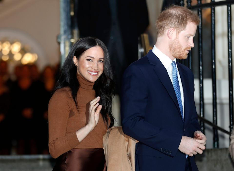 Prince Harry and Duchess Meghan of Sussex leave after visiting Canada House in London on Jan. 7, 2020.