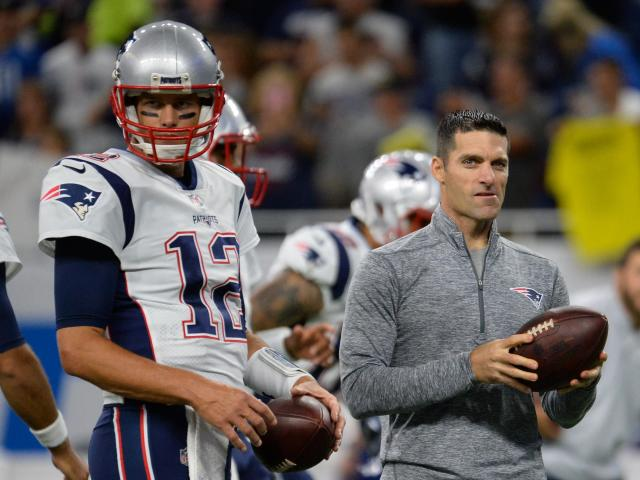 The New England Patriots have reportedly filed tampering charges against the Houston Texans over their director of player personnel, Nick Caserio, right. (Getty Images)