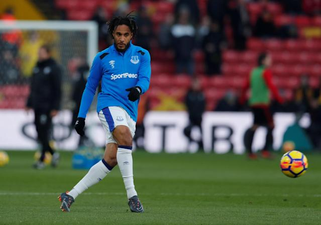 """Soccer Football - Premier League - Watford vs Everton - Vicarage Road, Watford, Britain - February 24, 2018 Everton's Ashley Williams during the warm up before the match Action Images via Reuters/Andrew Couldridge EDITORIAL USE ONLY. No use with unauthorized audio, video, data, fixture lists, club/league logos or """"live"""" services. Online in-match use limited to 75 images, no video emulation. No use in betting, games or single club/league/player publications. Please contact your account representative for further details."""