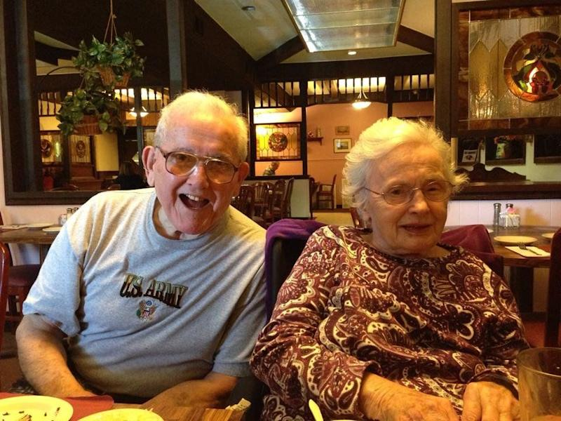 """""""My grandparents were married for 65 years until my grandma passed away last summer. Opposite religions, opposite politics and they still made it work. I have a lot to live up to!"""" - <em>Clare Dych</em>"""