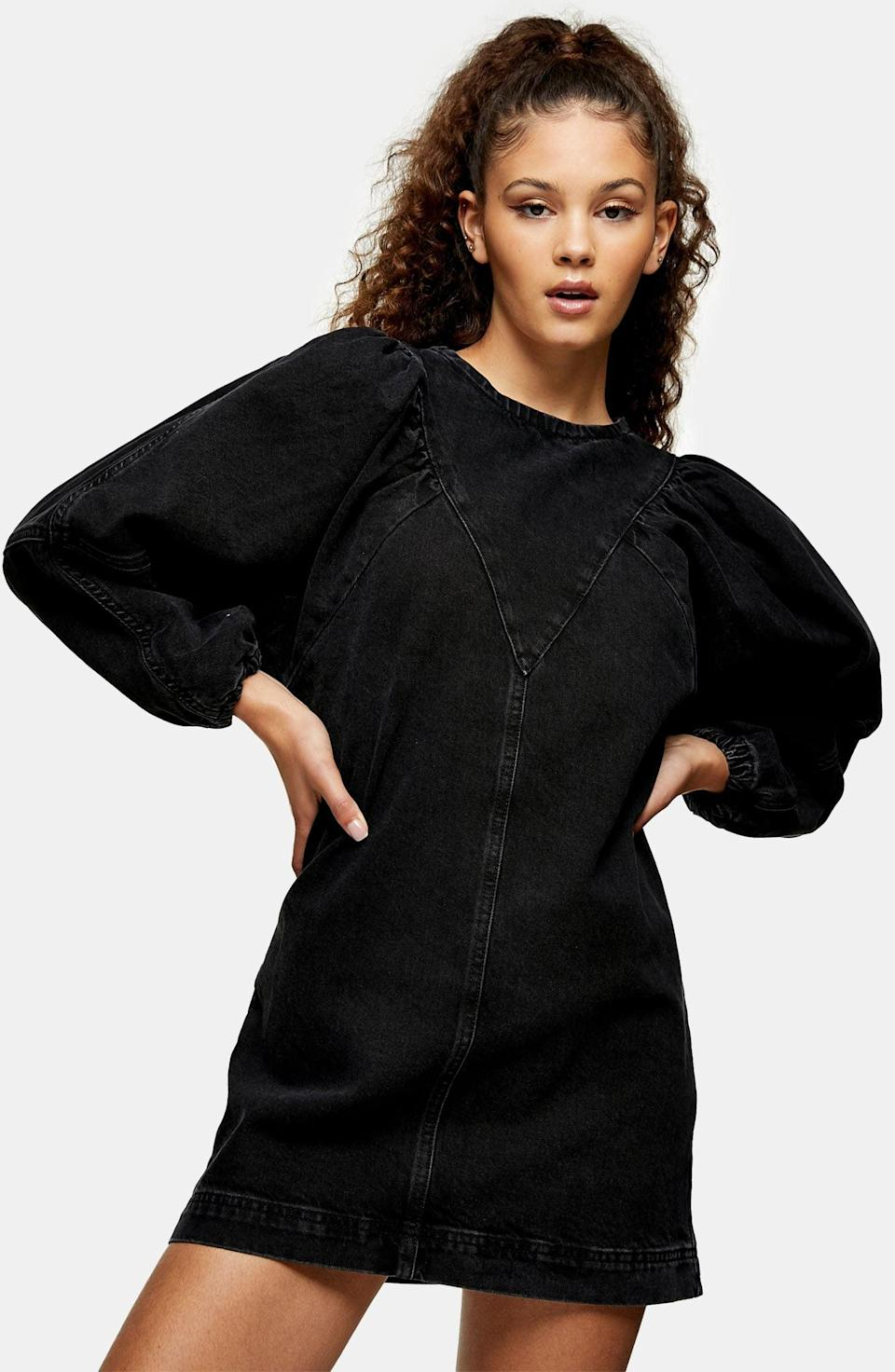 <p>Get ready for your Thanksgiving Zoom parties with this <span>Topshop Denim Puff Sleeve Minidress</span> ($75).</p>