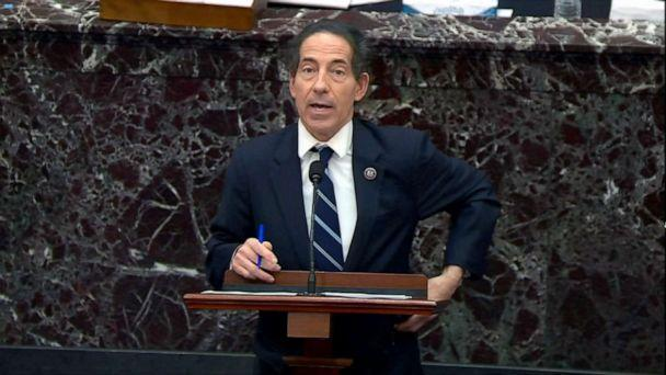 PHOTO: House impeachment manager Rep. Jamie Raskin speaks on the fifth day of former President Donald Trump's second impeachment trial at the Capitol, Feb. 13, 2021. (congress.gov via Getty Images)