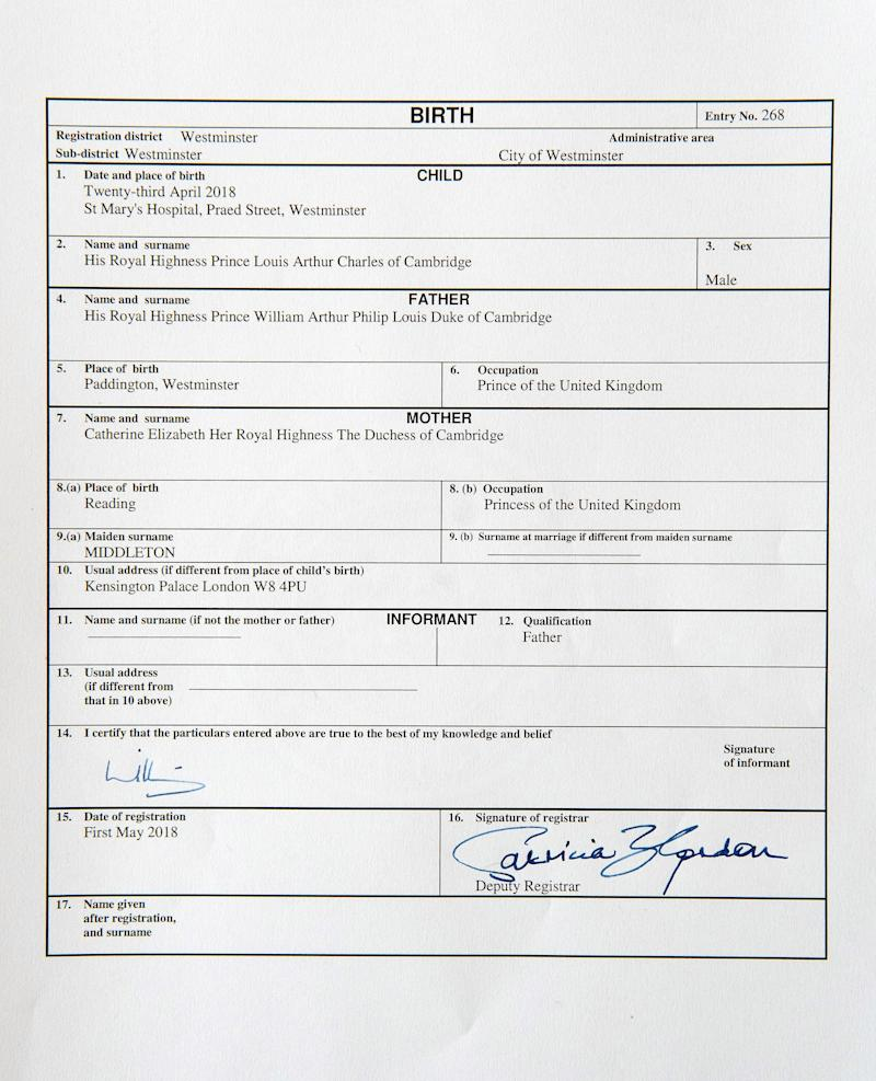 Prince Louis Birth Certificate Is Different From Prince George And