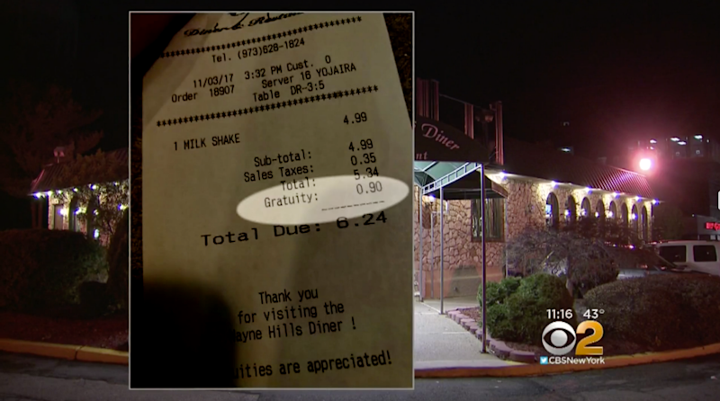 Bella's receipt clearly shows a 90 cent tip added to her milkshake. Photo: CBS New York