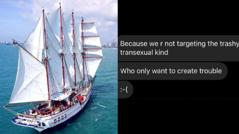 At left, the Royal Albatross ship and a leaked screenshot of its chat session over a planned LGBT event, at right. Photos: Royal Albatross/Instagram, Prout/Instagram