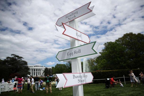 PHOTO: Signs direct guests to different locations during the 141st Easter Egg Roll at the White House, April 22, 2019. (Win Mcnamee/Getty Images, FILE)