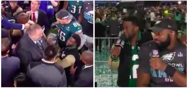 Kevin Hart celebrated too hard after Super Bowl LII. (Screen shots via @_MarcusD2_ and @BackAftaThis on Twitter)