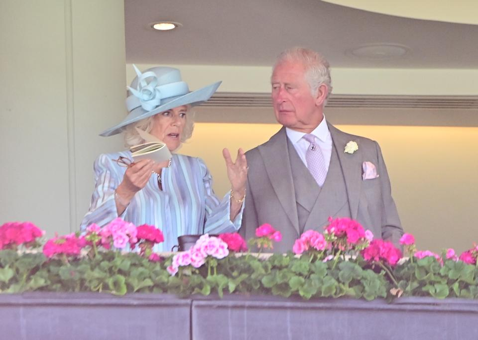 ASCOT, ENGLAND - JUNE 15: Camilla, Duchess of Cornwall and Prince Charles, Prince of Wales attend Royal Ascot 2021 at Ascot Racecourse on June 15, 2021 in Ascot, England. (Photo by Samir Hussein/WireImage)