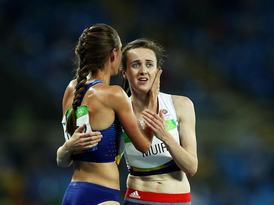 Muir is consoled by Jennifer Simpson after the 1500m at Rio 2016 (Getty Images)
