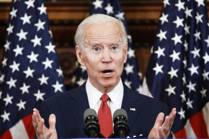 """FILE- in the June 2, 2020 file photo, Democratic presidential candidate, former Vice President Joe Biden addresses the media in Philadelphia. Biden's comment, """"If you have a problem figuring out whether you're for me or Trump, then you ain't black."""" made during a May 22, 2020 interview at """"The Breakfast Club"""" holds the number seven spot on the Yale Law School librarian's list of the most notable quotes of 2020. (AP Photo/Matt Rourke, File)"""