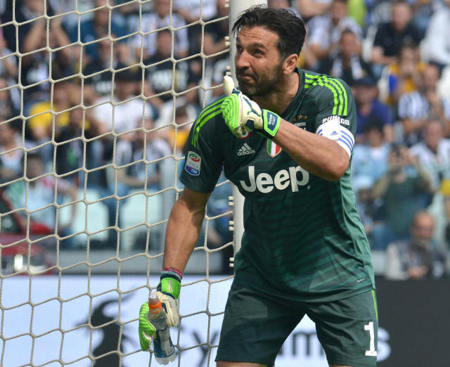 Juventus goalkeeper Gianluigi Buffon gestures during the Serie A soccer match between Juventus and Hellas Verona, at the Allianz Stadium in Turin, Italy, Saturday, May 19, 2018. Juventus captain Gianluigi Buffon played his last match for the Italian champion on Saturday and has put off retirement to consider offers to play overseas. (Alessandro Di Marco/ANSA via AP)