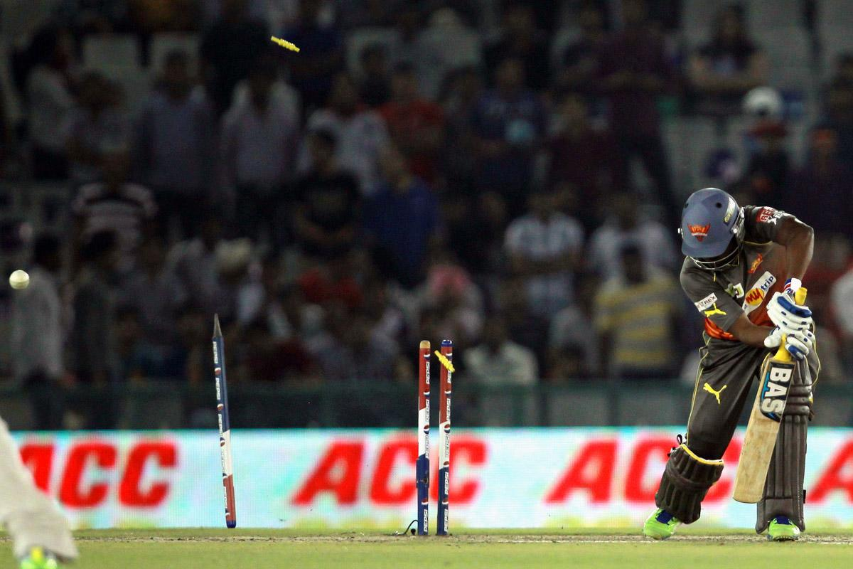 B Samantray is out bowled during match 59 of of the Pepsi Indian Premier League between The Kings XI Punjab and the Sunrisers Hyderabad held at the PCA Stadium, Mohali, India  on the 11th May 2013. (BCCI)