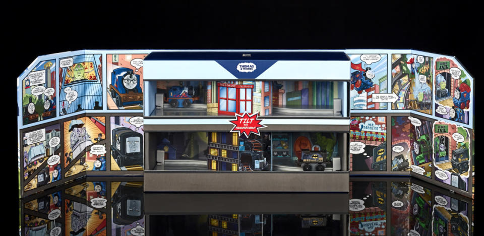 <p>The Island of Sodor need not fear when Thomas and Diesel are here. These engines transform from their civilian forms as Clark Kent (Thomas) and Bruce Wayne (Diesel) into their heroic alter egos of Superman and Batman. ($20)<br></p>
